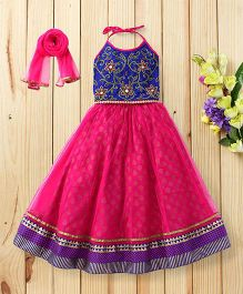 Twisha Set Of Embroidered Choli With Flare Ghaghra & Dupatta - Blue & Magenta