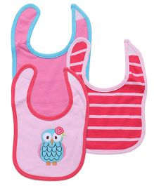 Luvable Friends 3Pk Owl Bib Set - Rose Pink