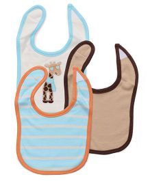 Luvable Friends 3Pk Giraffe Bib Set - Blue