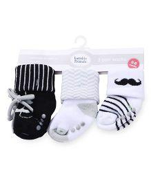 Luvable Friends Anti-Skid Shoe Socks Pack Of 3 - Multicolor