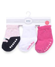 Luvable Friends Anti-Skid Shoe Socks Pack Of 3 - Pink & White