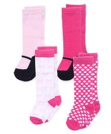 Luvable Friends Knee-High Mary Jane Socks Pack Of 4 - Pink