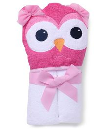 Luvable Friends Animal Hooded Towel With Embroidery Woven Terry - Pink