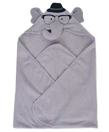 Luvable Friends Animal Hooded Towel With Embroidery Woven Terry - Grey