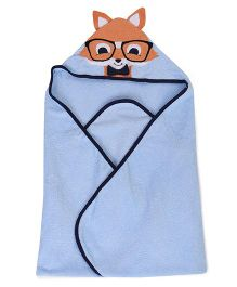 Luvable Friends Animal Hooded Towel With Embroidery Woven Terry - Blue