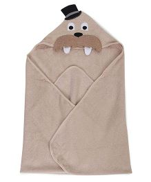 Luvable Friends Animal Hooded Towel With Embroidery Woven Terry - Beige