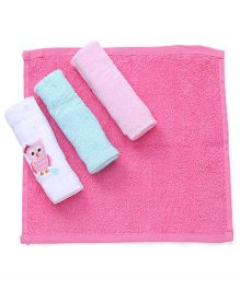 Luvable Friends Owl Design Set Of 4 Wash Cloth - Multicolor