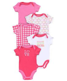 Luvable Friends Pack of 5 Bodysuit - Pink