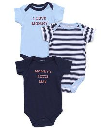 Luvable Friends Mommy Print 3Pk Bodysuit - Blue