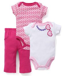 Luvable Friends 3Pc Bodysuit & Pant Set - Pink