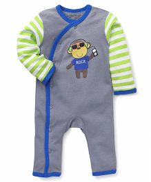 Luvable Friends Monkey Print Overalls - Blue & Grey