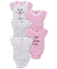 Hudson Baby Cute 5Pk Onesie - Pink