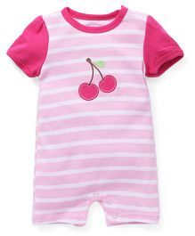 Hudson Baby Cherry Romper - Pink & Red - 3 M