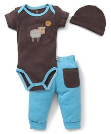 Hudson Baby Bamboo Animal Layette Set - Brown & Blue
