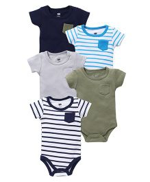 Hudson Baby Pack Of 5 Bodysuits - Multicolor