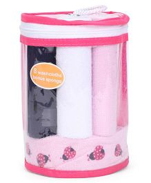 Hudson Baby Set Of 8 Wash Cloths & Bonus Sponge - Pink