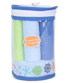 Hudson Baby Set Of 8 Wash Cloths & Bonus Sponge - Green & Blue