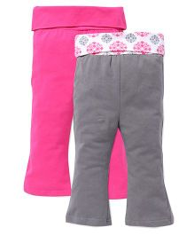Yoga Sprout Bell Bottom Pants Pack Of 2 - Pink & Grey
