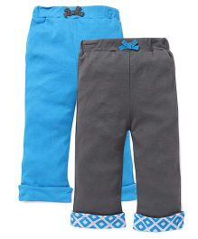 Yoga Sprout Folded Bottom Pants Pack Of 2 - Blue & Grey