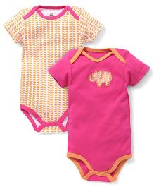 Yoga Sprout Pack Of 2 Elephant Print Onesies - Orange & Pink