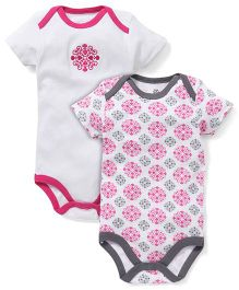 Yoga Sprout Pack Of 2 Embroidered Onesies - White & Pink
