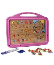 Funworld 3 In 1 ABC Puzzle Slate Shape O Mag Print - Pink