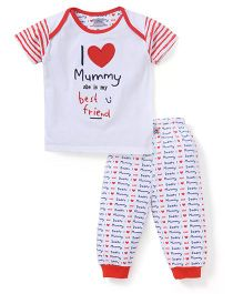 Mini Taurus Half Sleeves T-Shirt And Bottoms Quote Print - Red White