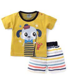 Mini Taurus Half Sleeves T-shirt With Shorts Printed - Mustard