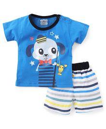 Mini Taurus Half Sleeves T-shirt With Shorts Printed - Blue