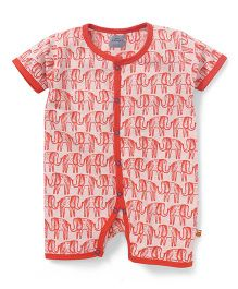 Mini Taurus Half Sleeves Romper Elephant Print - Red