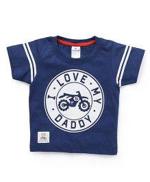 Ollypop Half Sleeves T-Shirt Bike Print - Navy Blue