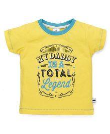 Ollypop Half Sleeves T-Shirt Caption Print - Yellow