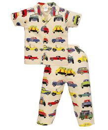 Ollypop Half Sleeves Night Suit Car Print - Light Yellow