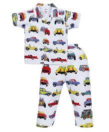 Ollypop Half Sleeves Night Suit Car Print - White