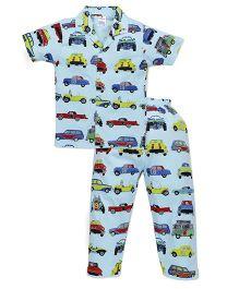 Ollypop Half Sleeves Night Suit Car Print - Light Blue