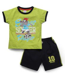 Ollypop Half Sleeves T-Shirt & Shorts Set Soccer Print - Green Black