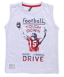 Ollypop Sleeveless T-Shirt Football Print - Light Grey