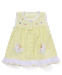 Chocopie Sleeveless Front Open Frock Floral & Butterfly Embroidery - Lemon Yellow