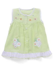 Chocopie Sleeveless Front Open Frock Floral & Butterfly Embroidery - Green