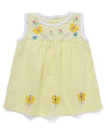 Chocopie Sleeveless Frock Floral & Butterfly Embroidery - Lemon Yellow