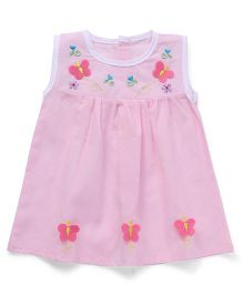 Chocopie Sleeveless Frock Floral & Butterfly Embroidery - Pink