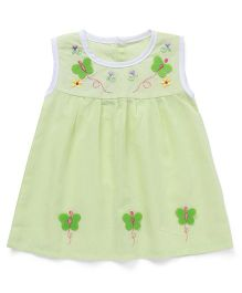 Chocopie Sleeveless Frock Floral & Butterfly Embroidery - Green