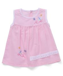 Chocopie Sleeveless Frock Floral Embroidery - Pink