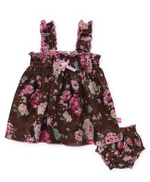 Chocopie Sleeveless Dress With Bloomer Floral Print - Brown