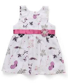 Chocopie Sleeveless Frock Leaves Printed - White