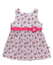 Chocopie Sleeveless Frock Floral Print - White Pink