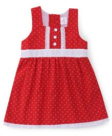 Chocopie Sleeveless Frock Printed - Red White