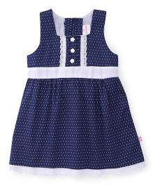 Chocopie Sleeveless Frock Printed - Navy White
