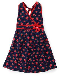 Chocopie Halter Neck Frock Floral Print - Red Navy