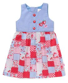 Chocopie Sleeveless Frock Floral And Strawberry Print - Blue Pink